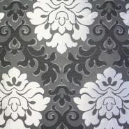 Deko žakard, stilni barok, črno/srebrna, 12708-6240