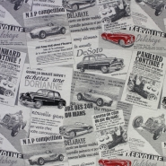 Deco jacquard, retro cars, 13086-01