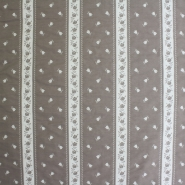 Deco jacquard, beige stripes and flowers, 13183-123 - Bema Fabrics
